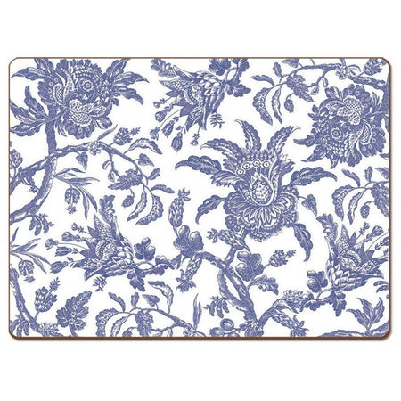 Placemat with white background and blue flowery pattern all over.