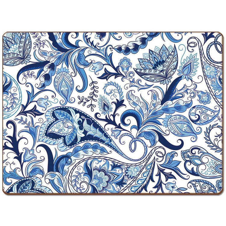 Rectangle shaped hardboard placemat with patterned blue floral print.