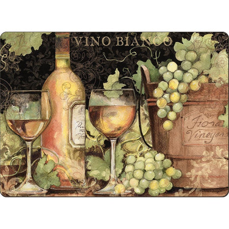 Black placemats with a wine bottle, two wine glasses, and green grapes.