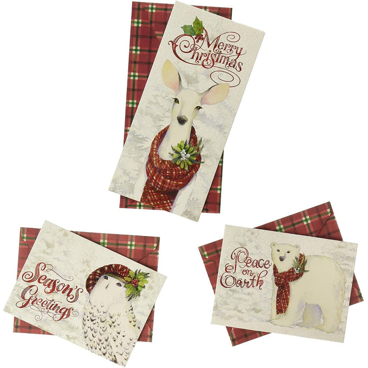 3 different cards. 1 with a deer, 1 with an owl, 1 with a polar bear. All wearing scarves or hats.