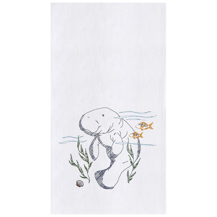 White flour sack kitchen towel embroidered with grey manatee and 2 gold fish.
