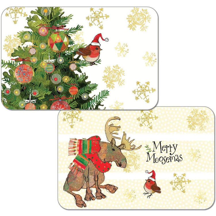 'Merry Moosemas' 1 side with a moose & cardinal wearing hats & scarves, the other with a bird on a pine tree.