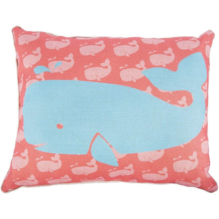 orange pillow with light orange whale pattern & large blue whale in center.