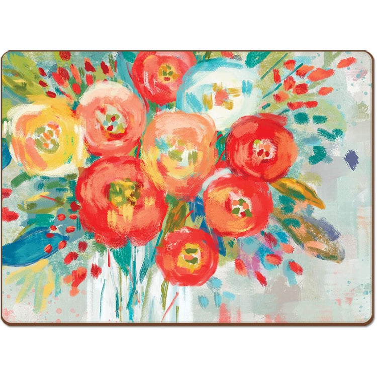 Rectangle shaped hardboard placemat with bright floral print in orange, blue and yellow.