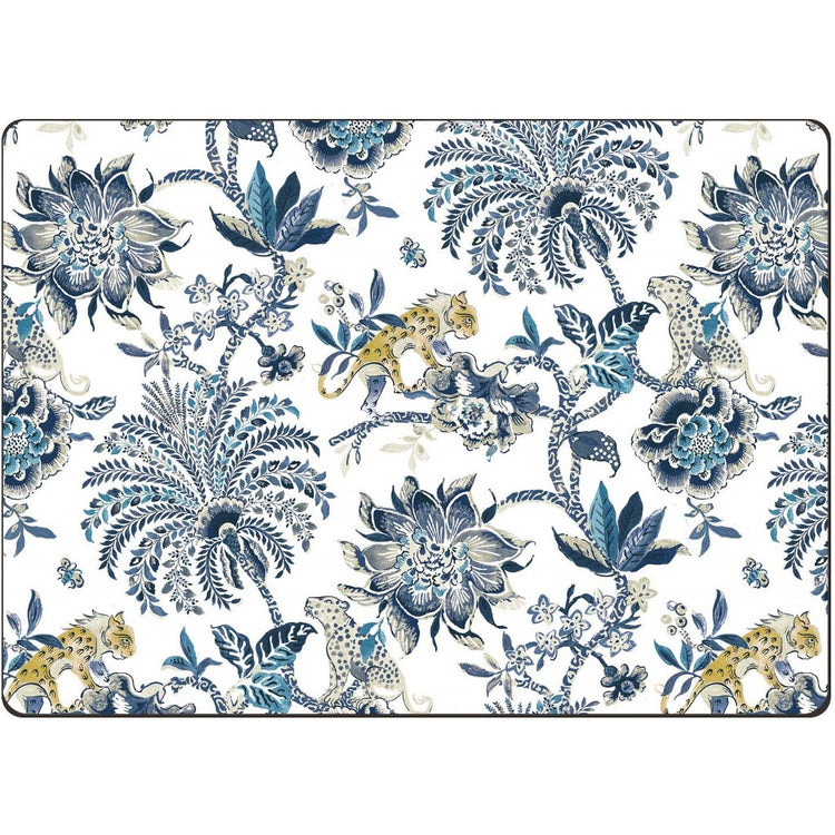 Cream colored placemats with shades of blue tropical flowers and leopards.
