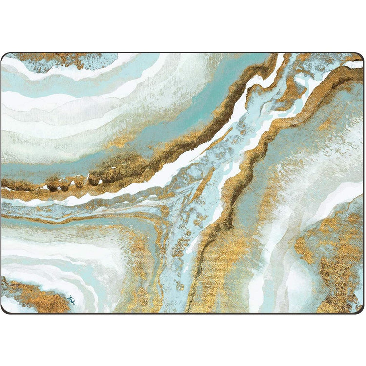 Hardboard placemats with swirls of gold, teal, light blue and white.