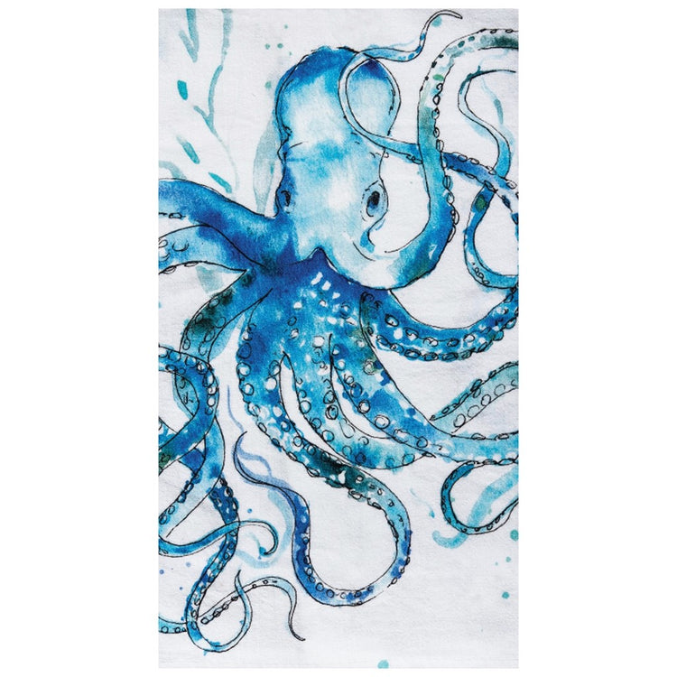 White towel, blue octopus with tentacles bending out in all directions. Watercolor look with blue splatter on towel.
