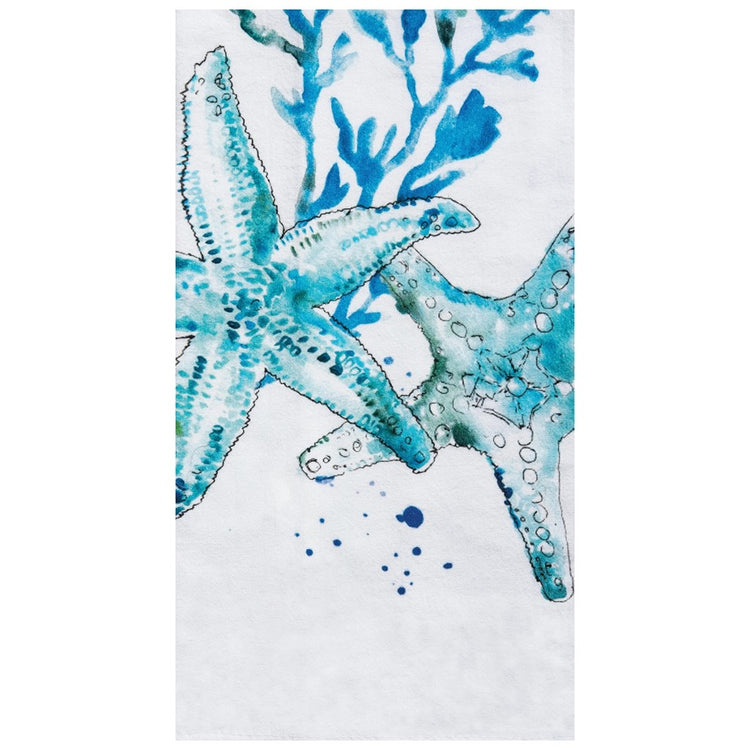 White towel with blue coral and 2 teal starfish. Blue splatters also on towel.