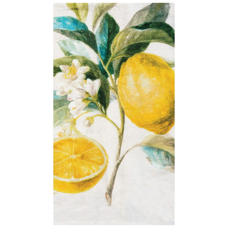 Dish towel with Lemon and leaves print.