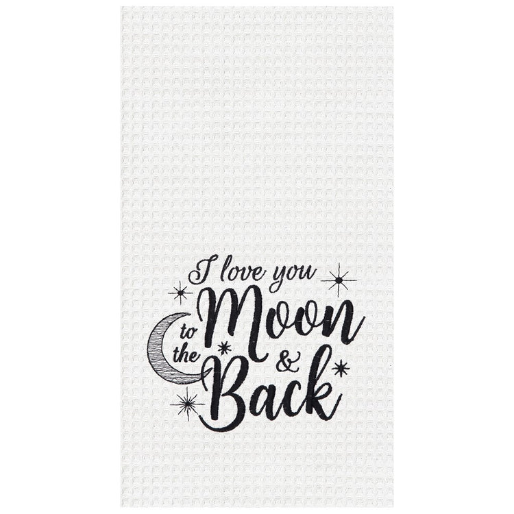 "White towel with text ""I love you to the Moon & Back""  Moon and variety of stars around text."