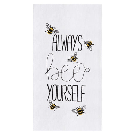 Always Bee Yourself Embroidered Flour Sack Dishtowel