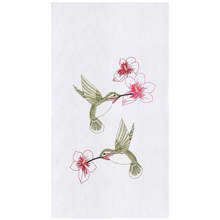 Hummingbird Flower Embroidered Flour Sack Dishtowel