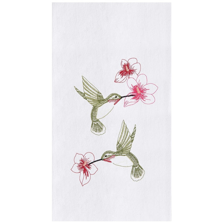 White towel, 2 embroidered green hummingbirds flying by red flowers