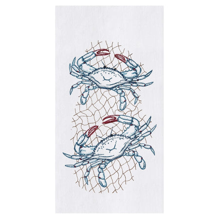 Crab Net Embroidered Flour Sack Dishtowel