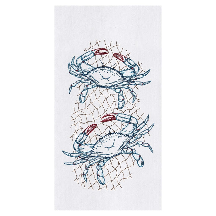 White flour sack dishtowel with 2 blue crabs in netting.