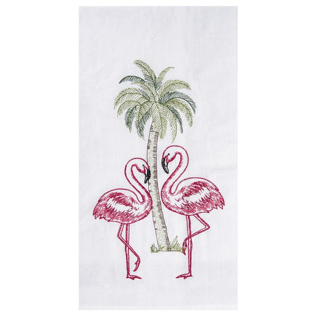 Flamingo Palm Embroidered Flour Sack Dishtowel