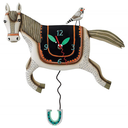 Horse shaped wall clock with horseshoe pendulum.