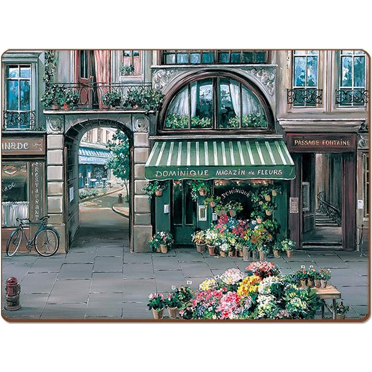 village town square scene with flowers & stone & windows
