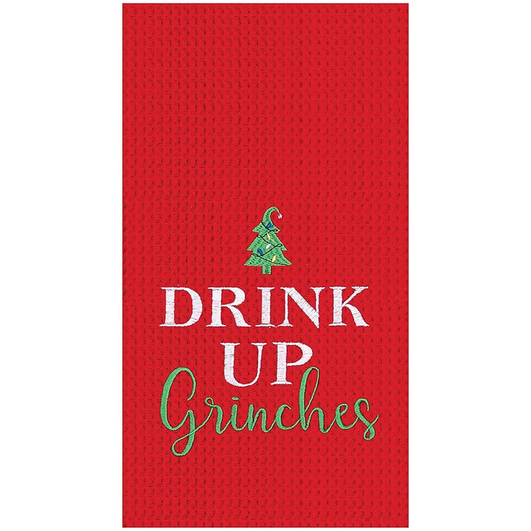 red waffle weave towel that says drink u grinches