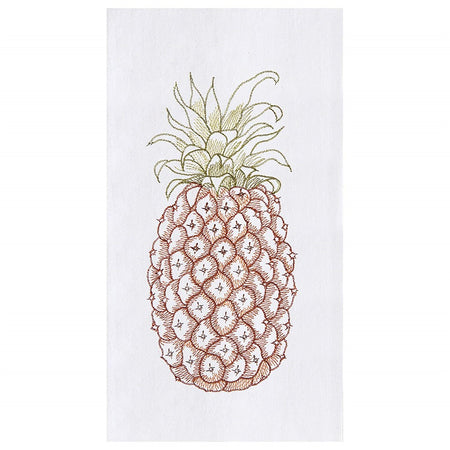 Pineapple Embroidered Flour Sack Dishtowel