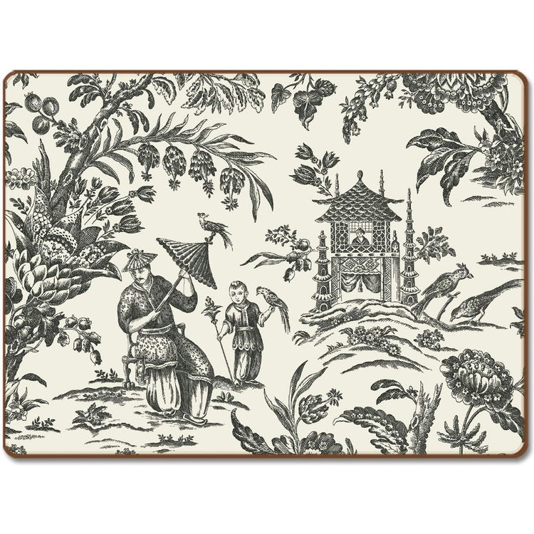Rectangle shaped hardboard placemat with black floral pattern on white.  Shows a tea house, flanked by pagodas, a man and boy.