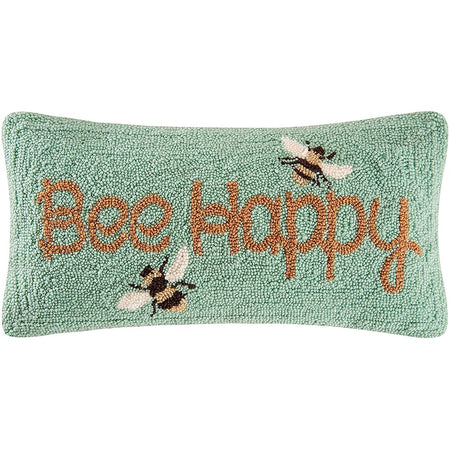 Rectangular shaped hooked pillow in light green with yellow bee happy bee design.