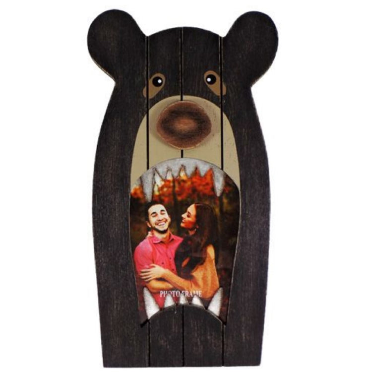 Wood and Metal Black Bear Design Photo Frame, Holds 4 Inch x 6 Inch Picture