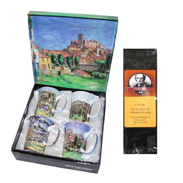 4 mugs & a gift box with a black package of tea. The box and all the mugs show artwork by Paul Cezanne.