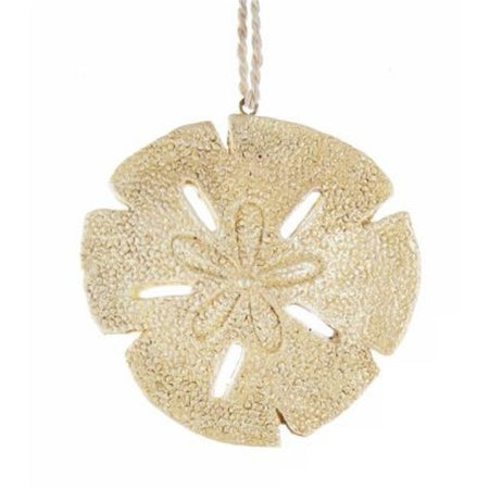 Gold color sand dollar ornament, String hanger connected to top. pebbled look finish.