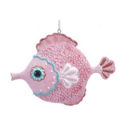 Blow fish ornament with pink face, fins and body trimmed in red & teal.