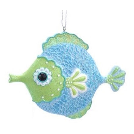 Blow fish ornament with green face and fins and blue body
