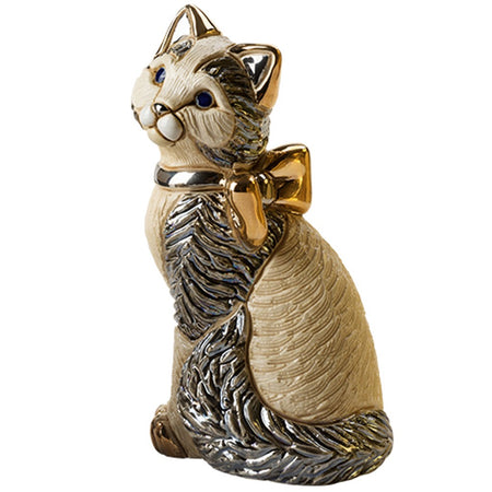 De Rosa Cat With Ribbon Figurine F172 2.35 Inches x 2.875 Inches x 5.5 Inches