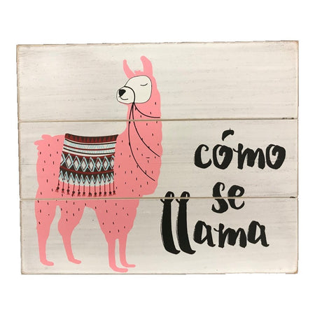 "Square plank look sign with pink llama and text ""como se llama""."