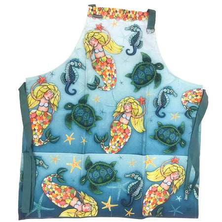 Under The Sea Cotton Apron 4 Pockets and an Eyeglass Case Holder