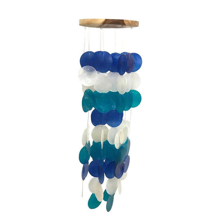 Wood top wind chime with blue, white & turquoise circle capiz chimes.