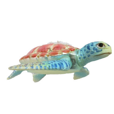 Sea turtle figurine hanging ornament.  Teal body with pink pastel shell, bead like embellishments.
