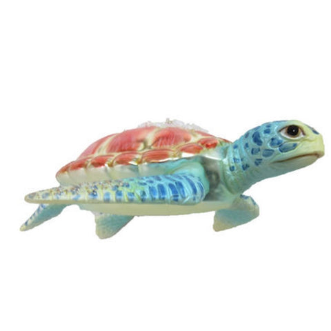December Diamonds Blown Glass Embellished Sea Turtle with Aqua Flippers Ornament