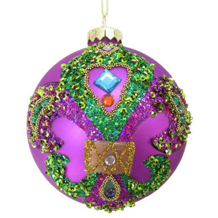 Purple ball ornament fluer de lis with embellishments