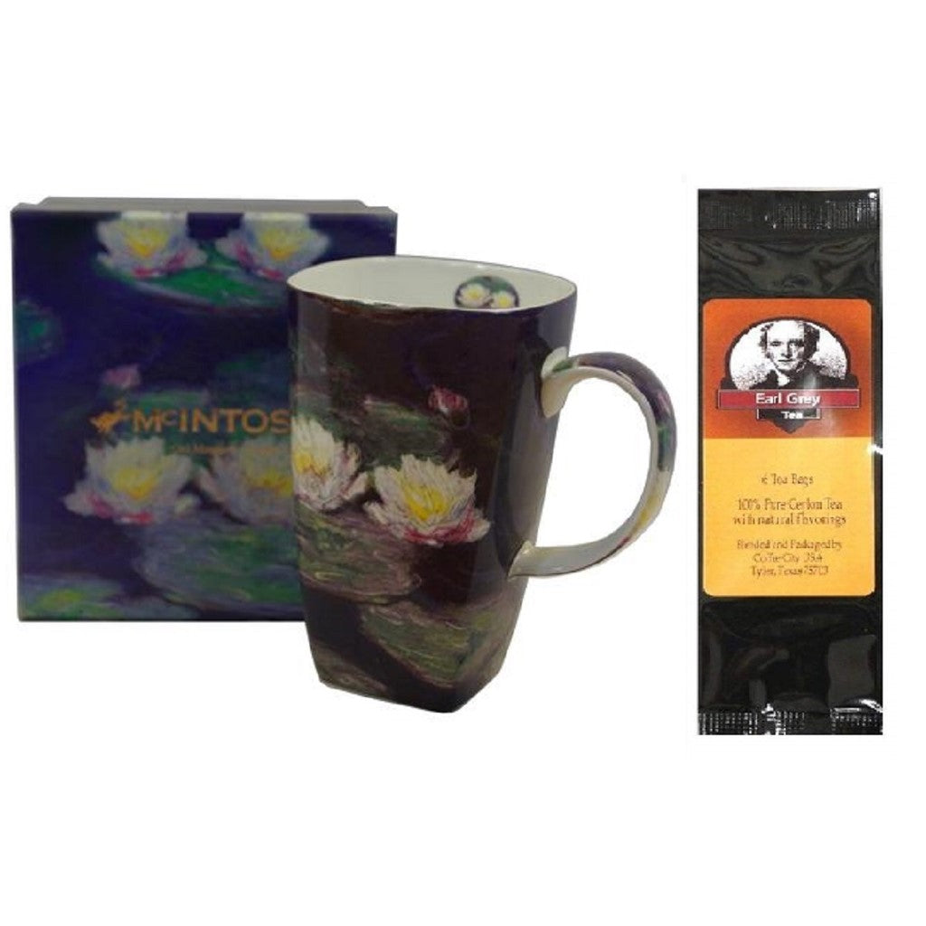 Monet Water Lilies Grande Coffee Mug Matching Gift Box and Tea Gift Package