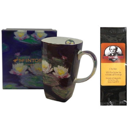 Coffee mug imprinted with Water Lilies, matching box and package of Earl Grey tea.