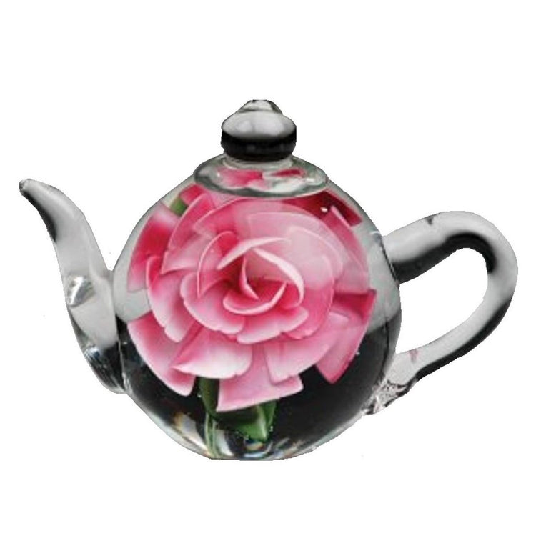 Dynasty Gallery Glass Teapot Paperweight with Pink Rose 6128 5.5 Inches Long
