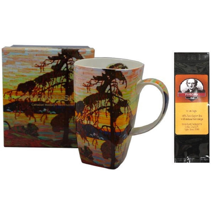 Tom Thompson's Jack Pine painting on the outside of the mug.