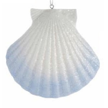 Seashell shaped Christmas ornament.  White with faded blue accent.