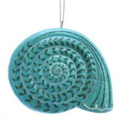 Teal scallop shell ornament with black accents. String hanger at top.