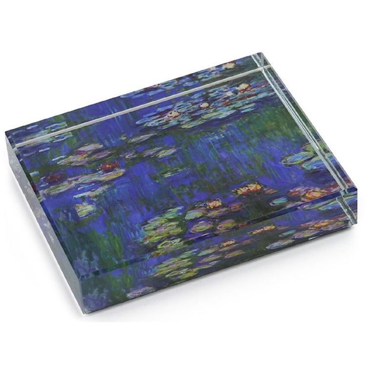 Block type crystal square to rectangle.  Clear glass with Monet's Water Lilies print under.