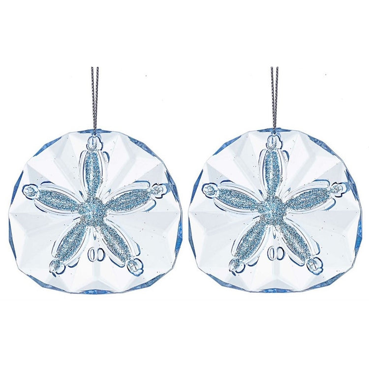 2 Light Blue Acrylic Sand Dollar Ornament with Glitter Accents