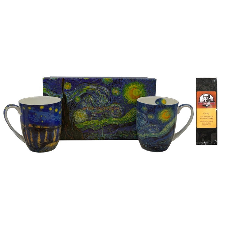 2 mugs & gift box with a black package of tea. The mugs and the gift box all show variations of Van Gogh Starry Night.
