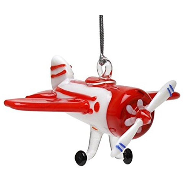 Prop airplane figurine hanging ornament. Orange and white.