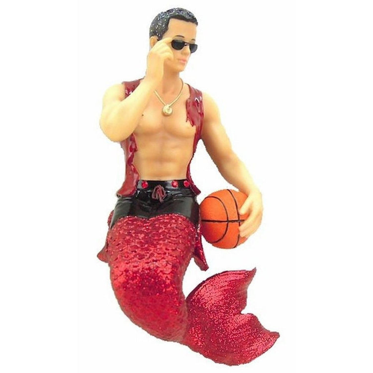 Merman figurine ornament.  Dressed in red holding a basketball.
