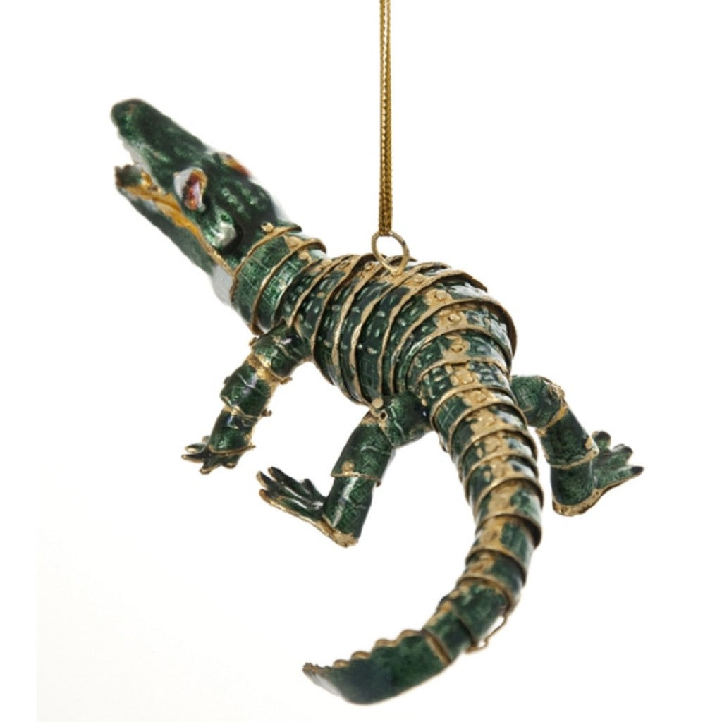 Cloisonne Articulated Alligator Hanging Ornament 5 Inches